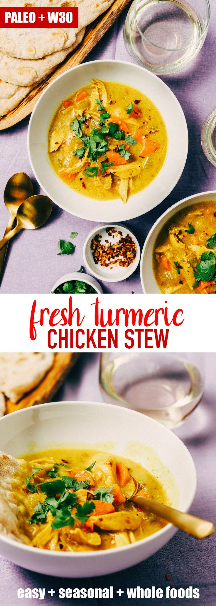 The tang and spice of fresh turmeric root really shines in this easy weeknight turmeric chicken stew. It's a delicious twist on classic chicken soup that uses leftover chicken, lots of fresh vegetables, chicken bone broth, and a spiced turmeric coconut milk. It's naturally gluten-free, paleo, and whole 30 compliant. #paleo #whole30 #turmeric #chickenstew