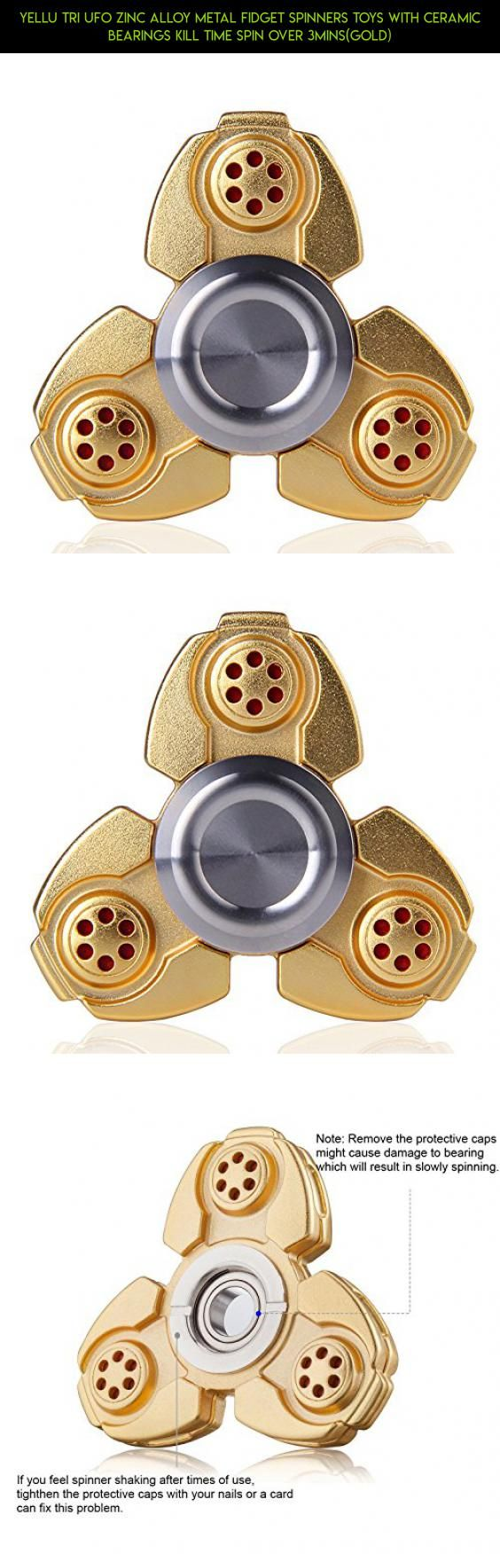 YELLU Tri UFO Zinc Alloy Metal Fidget Spinners Toys With Ceramic Bearings Kill Time Spin Over 3Mins(Gold) #drone #technology #fpv #parts #plans #gadgets #kit #shopping #tech #racing #products #metal #ufo #spinner #camera