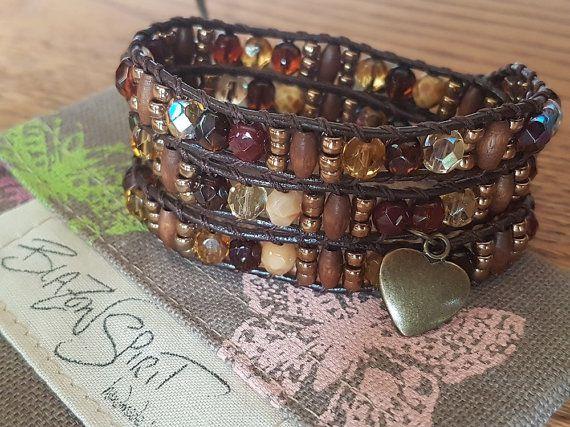 Beaded leather wrap bracelet 3x wrap 6 inch wrist by BlazonSpirit