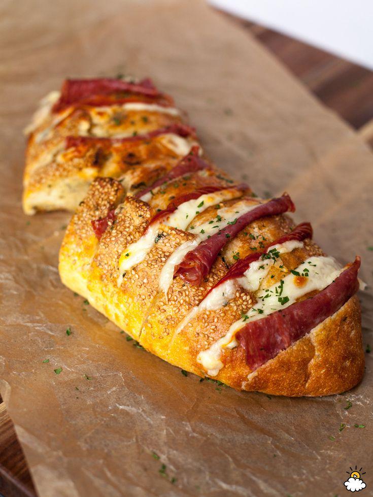 Italian Crazy Bread stuffed with Pepperoni, Salami, Mozzarella, and Provolone