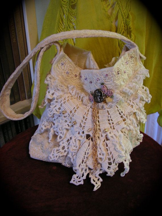 Victorian Chic Bag handmade with lace beads and antique doilies by TatteredDelicates
