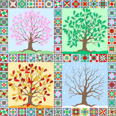 Art+Quilt+Techniques+Free | the seasons folk art quilt Royalty Free Stock Vector Art Illustration