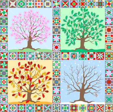 Art+Quilt+Techniques+Free | the seasons folk art quilt Royalty Free Stock Vector Art Illustration
