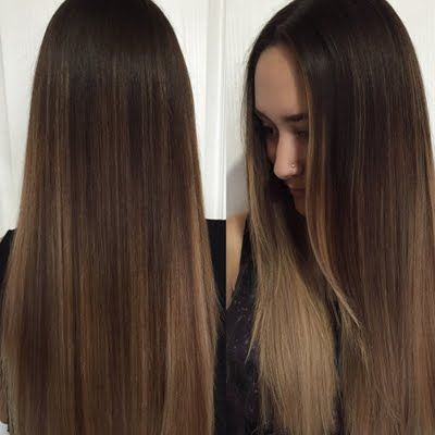 Make this subtle balayage  ombre with hints of blonde and ash your perfect every…