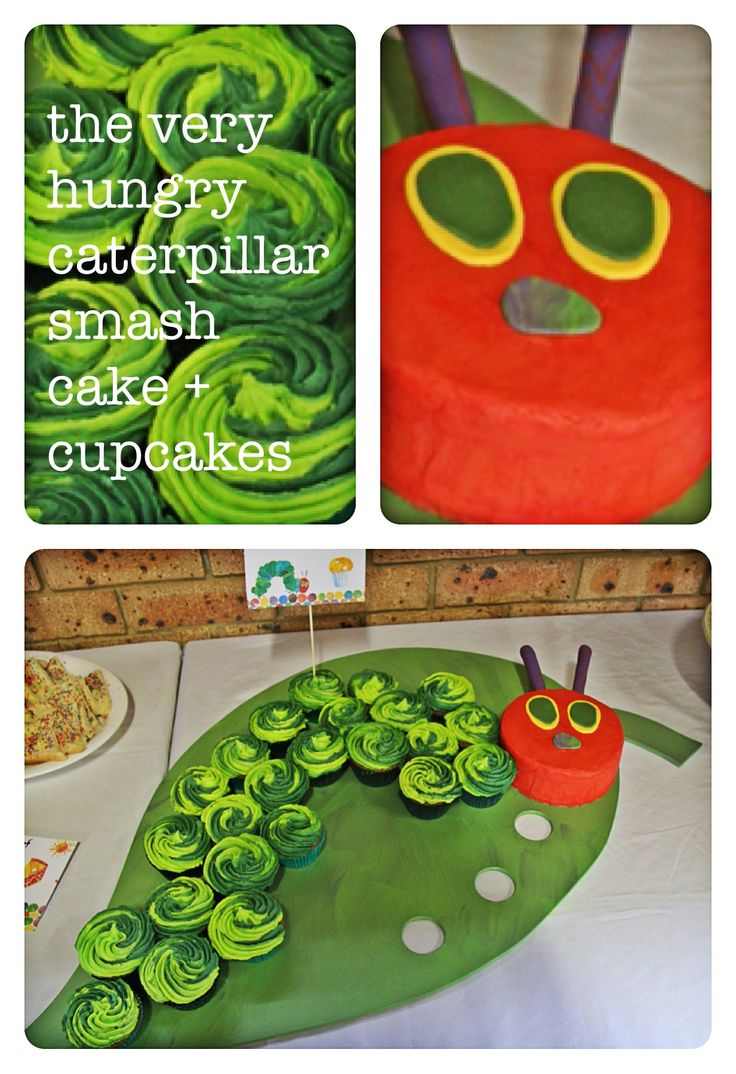 The very hungry caterpillar - smash cake & cupcakes for my nephews 1st Birthday