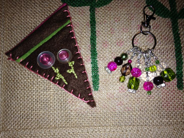 Embroidery scissor holder and Beaded stitch markers