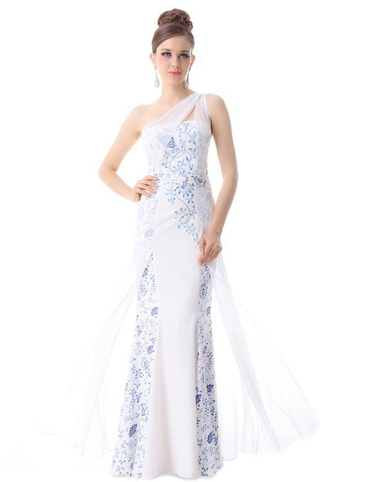 Ever Pretty Gorgeous Sexy One Shoulder Printed Evening Dress