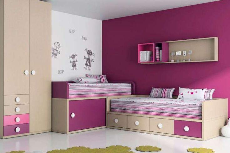 Colori camera da letto bambini - Pareti fucsia e bianche