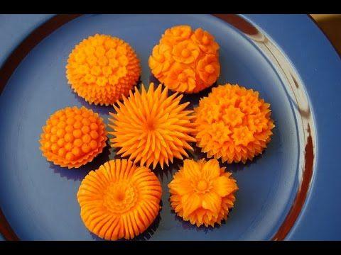 How to Make Carrot Flowers - Vegetable Carving Garnish - Sushi Garnish -...