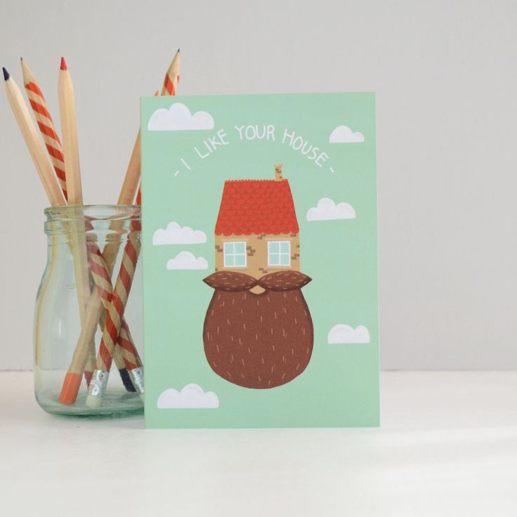 New to HannahStevensShop on Etsy: Beard New Home Card Hipster New House Card Cards for Men Alternative Home Cards Cards for Hipsters Quirky Illustrated Beard Gifts (2.50 GBP)