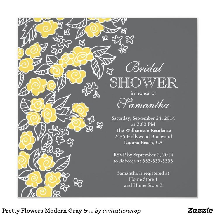 Pretty Flowers Modern Gray & Yellow Bridal Shower