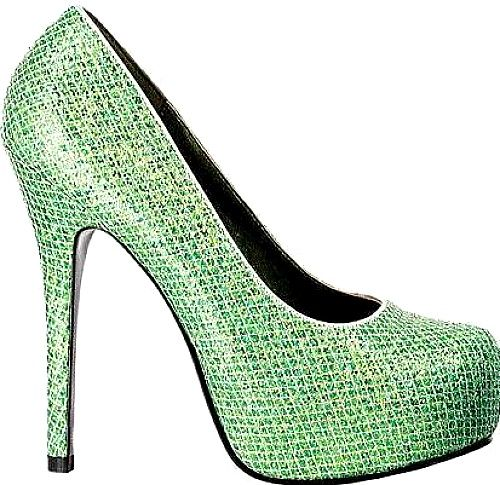 Bettie Page Shoes - This pump features a shiny, textured upper with a concealed platform, stiletto heel and round toe. - #bettiepageshoes #greenshoes