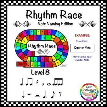This is a super fun (yet truly educational!) game where students race to the finish line by naming the names of rhythm notes! Use in your daily lessons, as part of center activities, or as a great sub plan!This is Level 8: Quarter Note, Quarter Rest, Beamed Eighth Notes, Half Note, Whole Note, Beamed Sixteenth Notes, Dotted Half Note, Whole Rest, Half Rest, Dotted Quarter Note, Single Eighth Note, and Single Eighth Rest #elmused rhythm games rhythm centers