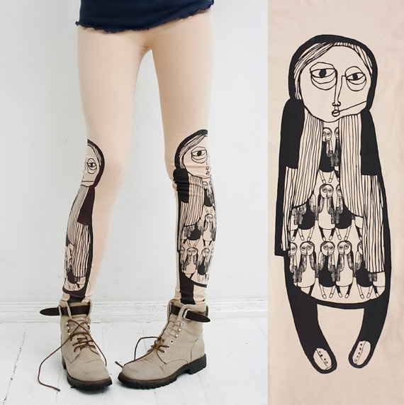 Girl in boots  beige leggings by ZIBtextile on Etsy, $50.00