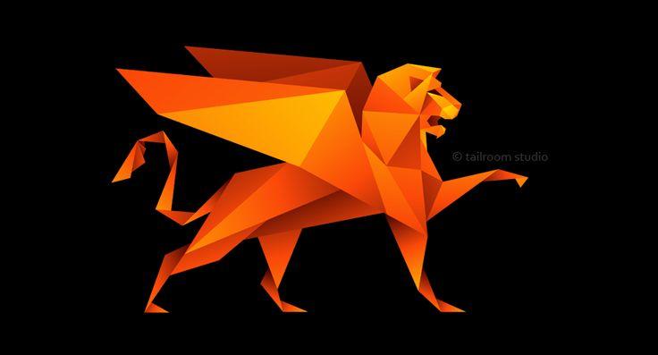 """""""Anatomy Style"""" - логотип для новой марки модной женской одежды в стиле оригами. Дизайнер - Ольга Шу. #логотип #грифон #лев #оригами #мода #одежда #стиль #origami #style #fashion #lion #griffin #logo #лого #дизайн #design #logodesign #logotype #tailroom #inspiration"""