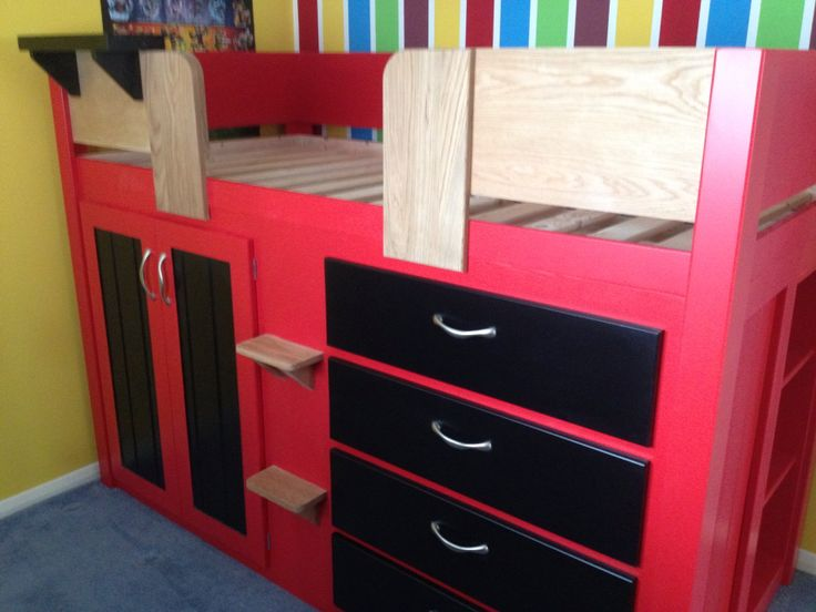4 Drawer Cabin Bed With A Football Theme! This Little Fan Loves His Team So  Much He Chose Their Team Colours For His Cabin Bed. The Solid Oak Front  Rails, ...