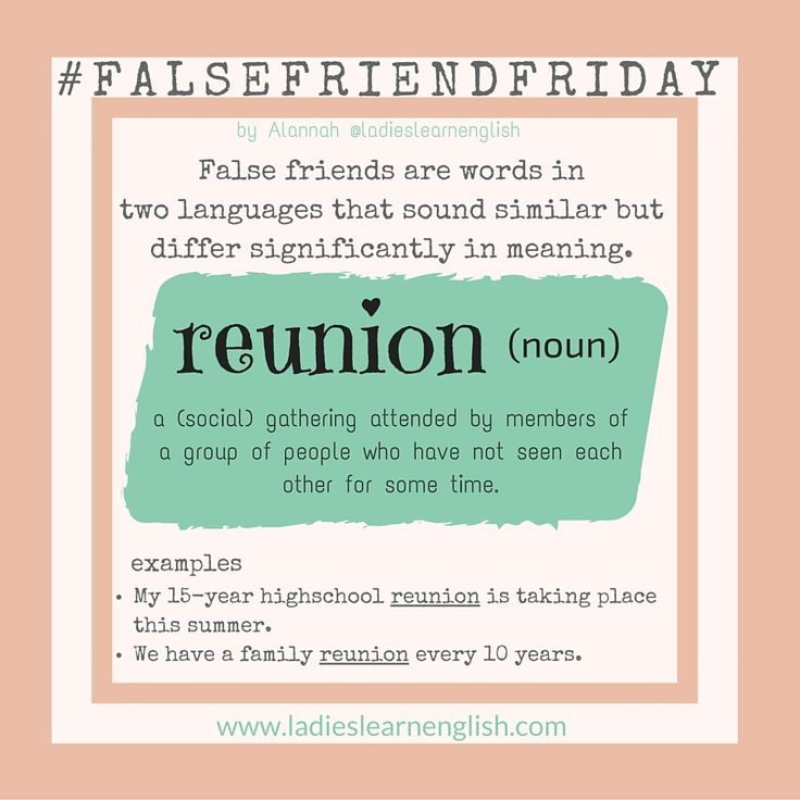 """The confusion is with the Italian noun 'riunione', which is actually 'meeting' in English.    Lots of my Italian students use this form:  """"I have a work reunion today"""", which is incorrect.   In English, we use 'reunion' to mean a social gathering, and most commonly between distant family members who are getting together after a length of time, or between old classmates who come together every 10 years."""