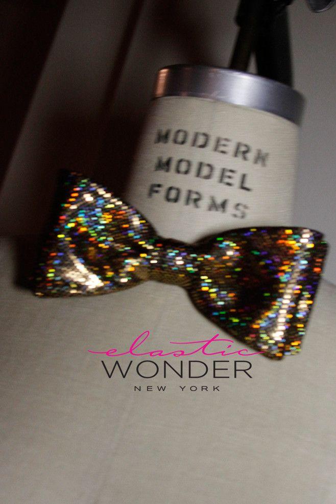 NYE 2014 Hologram Laser Foil Dot Printed Bow Tie