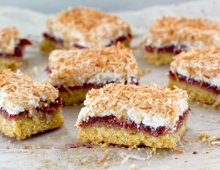 Louise Cake, with its shortcake crust slathered with raspberry jam and crowned with a delicately crisp coconut meringue, has been part of the New Zealand landscape for a very long time. Its origins...