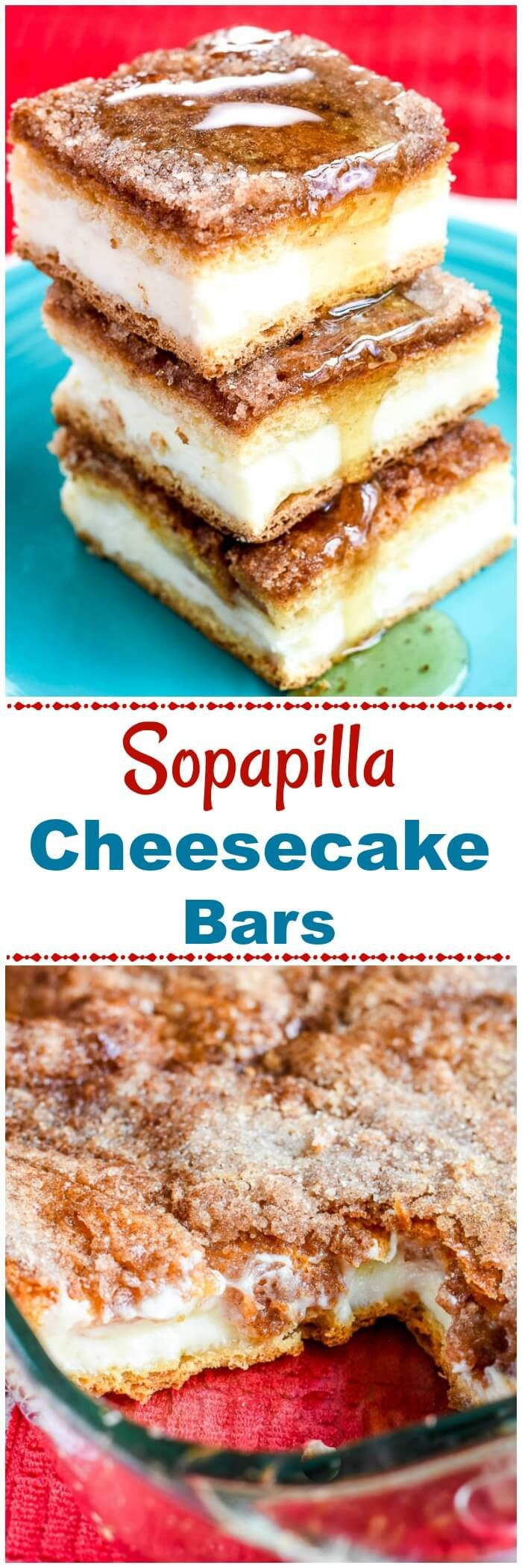 These Sopapilla Cheesecake Bars, inspired by the Mexican dessert called sopapillas, have a sweet, creamy cheesecake filling tucked between 2 crescent roll pastry sheets, and are topped with butter, cinnamon, and sugar and drizzled with honey. via @flavormosaic