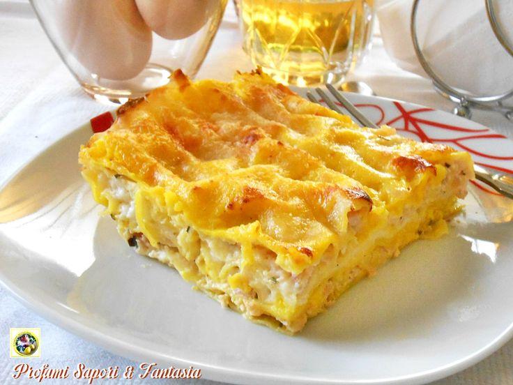 Le lasagne allo zafferano mortadella e crescenza sono perfette per ilpranzo della domenica o giorni di festa. rAFFINATE
