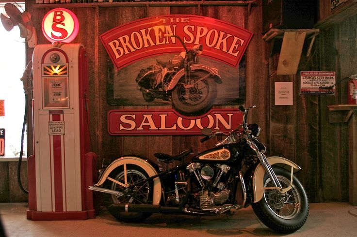 ❦ harleypics:  Knucklehead at the Broken Spoke Saloon Sturgis. Sunk a few suds in there!