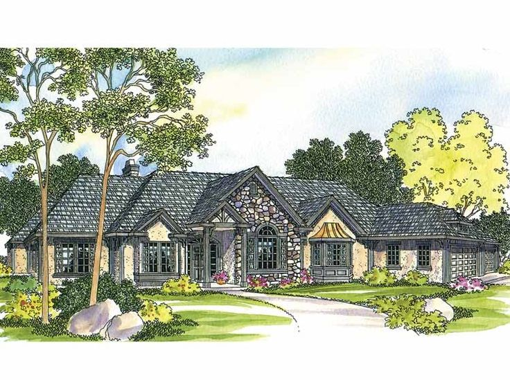 french country house plan with 2927 square feet and 4 bedroomss from dream - French Country Ranch House Plans
