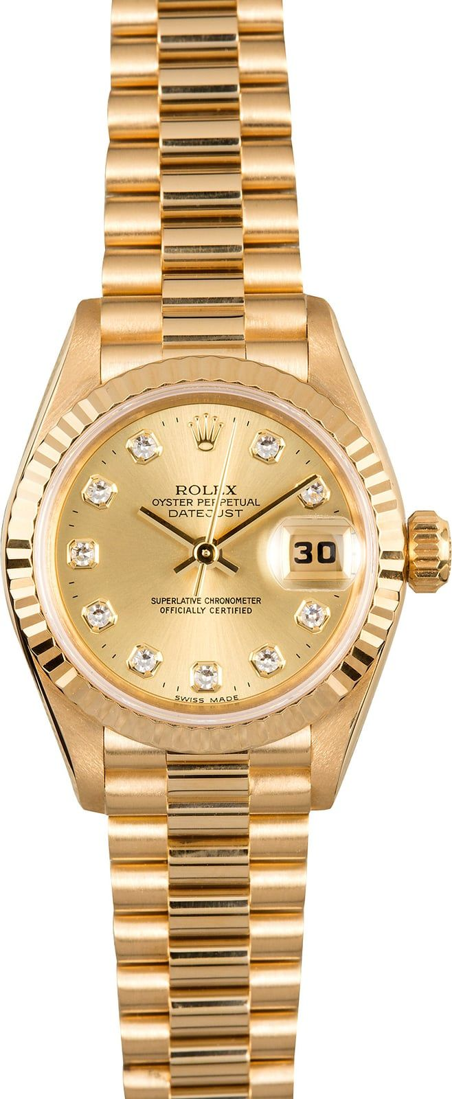 Manufacturer: Rolex Model : DateJust 69178 Serial/Year: T - 1995-1997 Grade: (What's This?) II Gender: Ladies Features: Automatic 2135 movement w/ date, quickset date, scratch-resistant sapphire crystal, waterproof screw-down crown Case: 18k yellow gold (26mm) w/ fluted bezel Dial: Champagne w/ 10 diamond hour markers Bracelet: 18k yellow gold Rolex President bracelet w/ hidden crown clasp Box & Papers: Original Rolex box, booklets, hang tags, polishing
