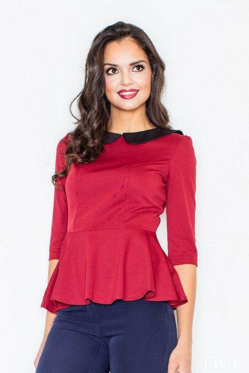 Bordowa bluzka damska z baskinką