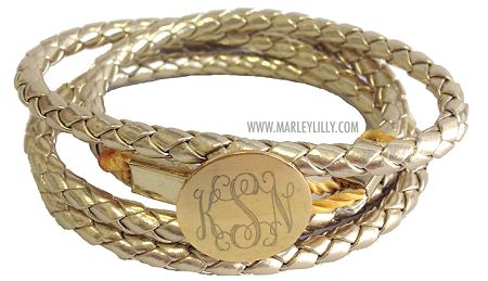 Monogrammed Hamptons Gold Braided Wrap Bracelet $34.99