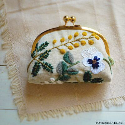 ♒ Enchanting Embroidery ♒ embroidered mimoza pouch by yumiko higuchi