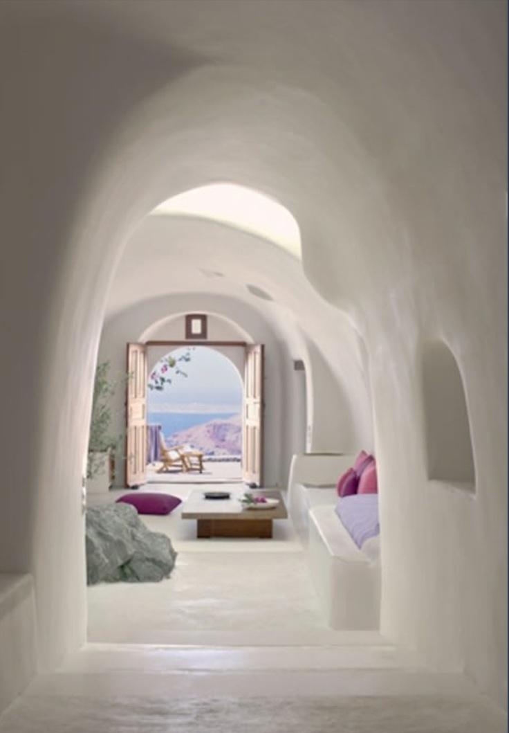 White Minimalist Living Room onto Fan Sea Views Greece Santorini