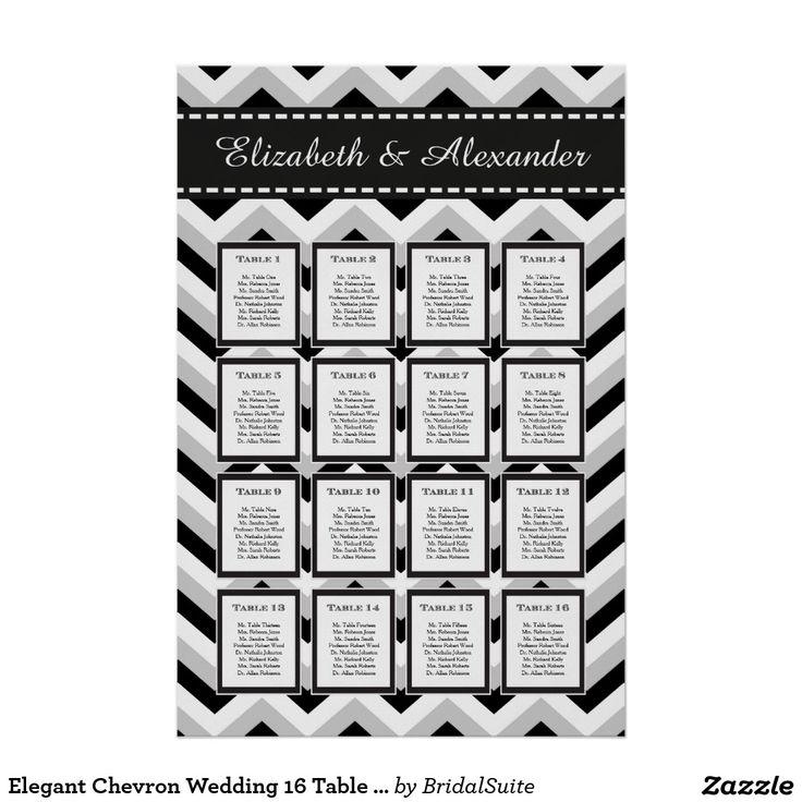 Elegant Chevron Wedding 16 Table Seating Chart Poster