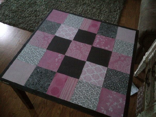 Nana's table covered with scrapbook paper and modge podged.