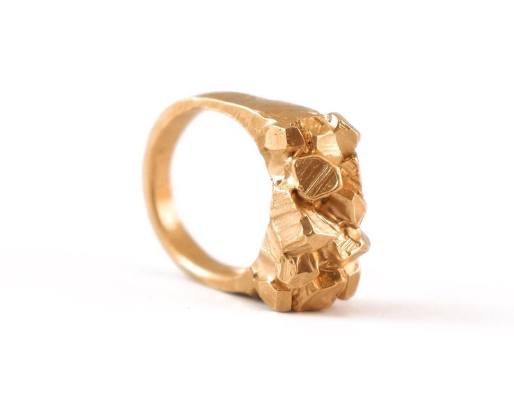 Hand carved Custom 14K Gold Engagement Ring. Crystals, clusters, gold. alexandradodds.com