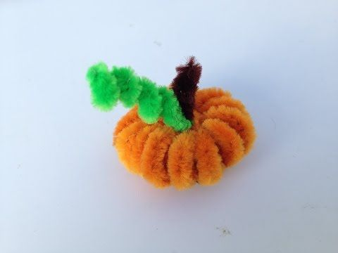 Pipe cleaner pumpkin tutorial in a few really simple steps. Start with 4 orange pipe cleaners, fold each in half, cut, then fold in half again and cut - you ...