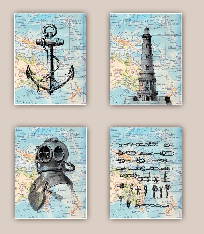 Nautical Prints, Lighthouse, anchor, sailor knots, scuba diver helmet, Set 4 prints 11x14, sailing map art, coastal decor, beach living by PrintLand on Etsy https://www.etsy.com/listing/176550062/nautical-prints-lighthouse-anchor-sailor