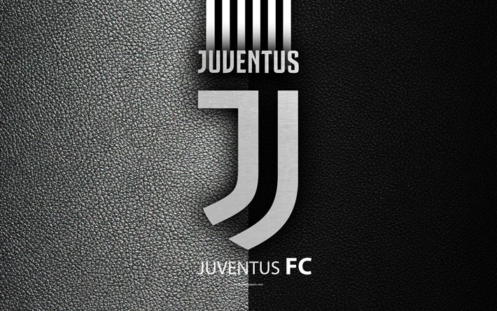 Download wallpapers Juventus FC, 4K, Italian football club, Serie A, new logo, Juventus new logo, leather texture, Turin, Italy, Italian Football Championships