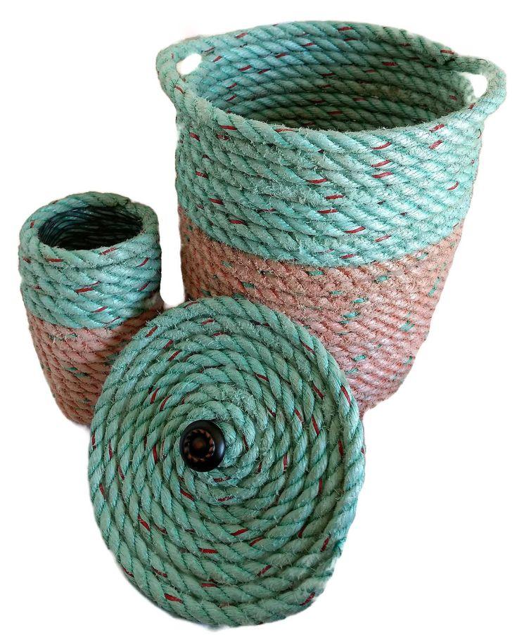 Handmade Nautical Decor Waste/Storage Basket with Lid  Reclaimed Lobster Rope Office Washroom Decor