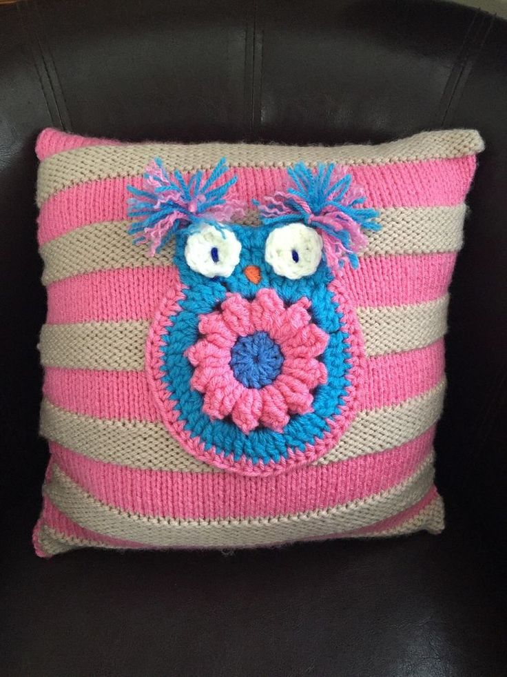 SALE 30% off NOW 13.99 , Hand Made Knitted  Owl Cushion   | eBay