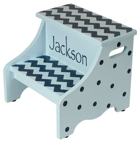 My Step Stool - Blue Chevron step stool $89.99 (//  sc 1 st  Pinterest & 35 best Puzzle Step Stools images on Pinterest | Step stools ... islam-shia.org