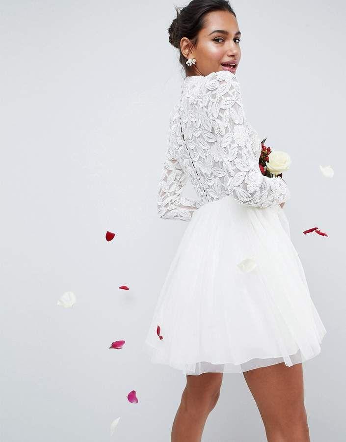 4ac62f03d ASOS Edition ASOS EDITION Embellished Tulle Mesh Mini Wedding Dress ...
