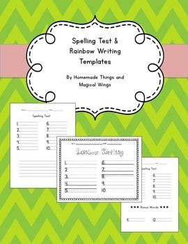 Spelling test and rainbow writing template 10 words for Rainbow writing spelling words template