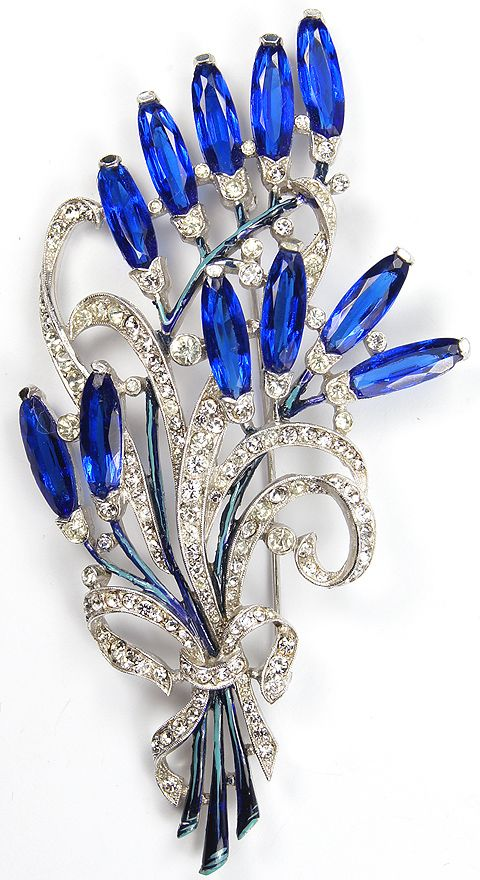 Trifari 'Alfred Spaney' Multiple Sapphires Floral Swirl with Bow Pin