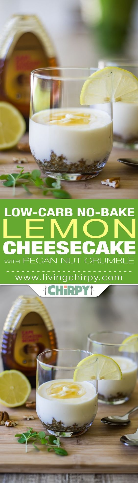 5 Ingredient Low-Carb No-Bake Lemon Cheesecake with Pecan Nut Crumble. An easy (and healthy) low-carb dessert that's sure to satisfy your sweet tooth!