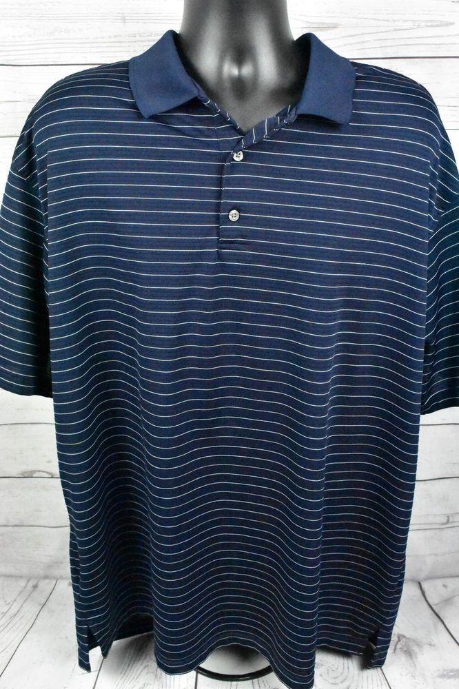 PGA Tour Golf Polo Shirt Navy Blue Stripes 100% Polyester Mens Size 2XLT  Tall   545a68b71e