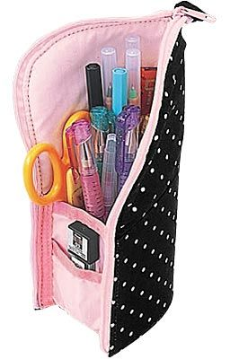 White Dotted Black and Pink Base Pencil Case