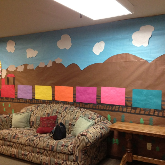 Simple but cute train bulletin board in mount hermon child care building.