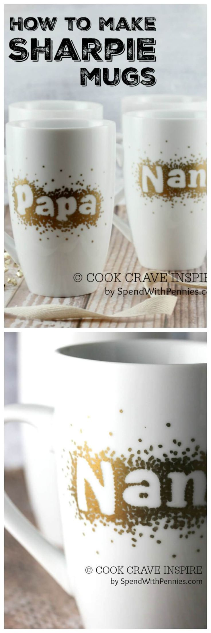 SHARPIE MUGS! You can use any color and any word or shape in this step-by-step tutorial! These are super easy to make and the perfect gift!