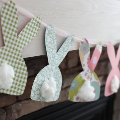 Bunny garland made with scrapbook paper